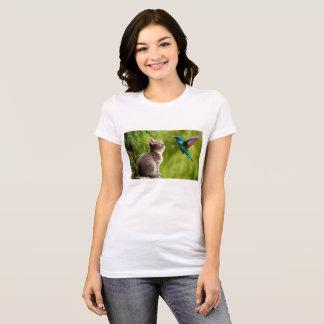 Camiseta Gatinho e colibri
