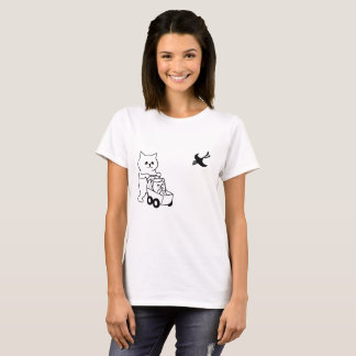Camiseta gatinho em uma carruagem