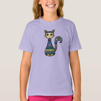 Camiseta Gatinho metálico dos retalhos do ~ bonito do gato