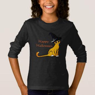 Camiseta Gato alaranjado feliz da bruxa do Dia das Bruxas -