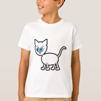 Camiseta Gato branco com olhos azuis
