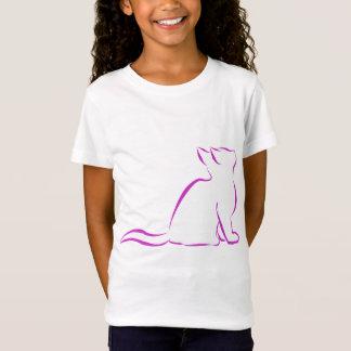 Camiseta Gato cor-de-rosa, suficiência branca