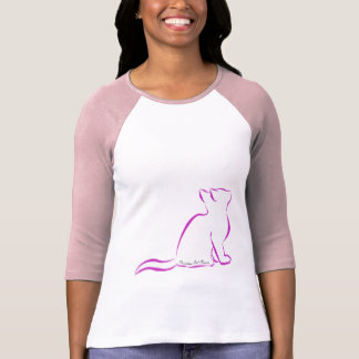 Camiseta Gato cor-de-rosa, suficiência branca, texto