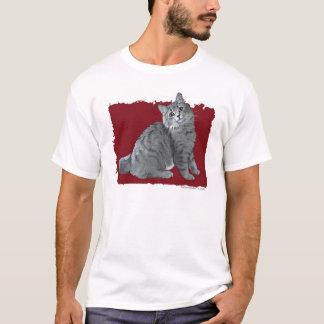 Camiseta Gato de gato malhado azul/cinzento