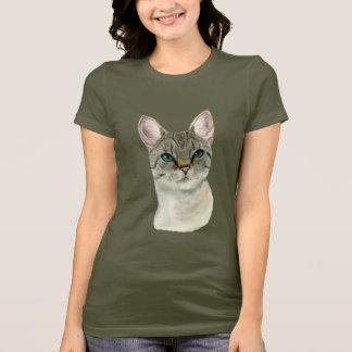 Camiseta Gato de gato malhado com a aguarela bonito dos