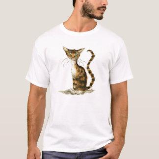 Camiseta Gato de gato malhado marrom magro
