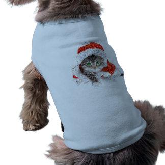 Camiseta gato de Papai Noel - colagem do gato - gatinho -