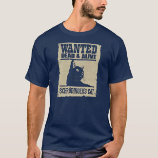 Camiseta Gato de Schrodinger Procurado Vivo e Morto