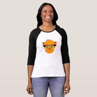 Camiseta Gato de sorriso engraçado dos desenhos animados,