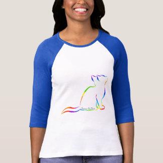 Camiseta Gato do arco-íris, suficiência branca, texto