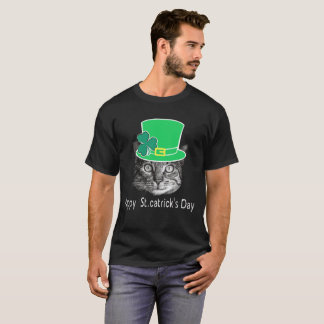 Camiseta Gato do dia de St Patrick feliz engraçado