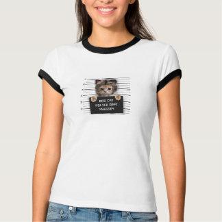 Camiseta gato do mugshot - gato louco - gatinho - felino