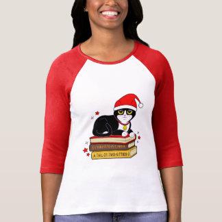 Camiseta Gato do Natal do smoking com Bell e livros