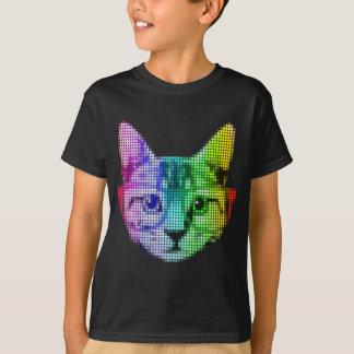 Camiseta Gato do pop art do arco-íris com vidros