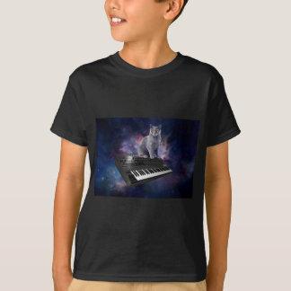 Camiseta gato do teclado - música do gato - espace o gato