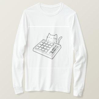 Camiseta Gato do teclado - t-shirt longo básico da luva