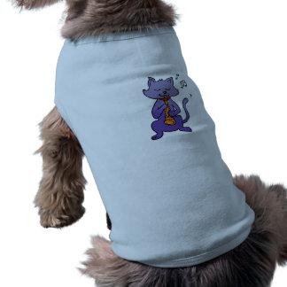 Camiseta Gato dos desenhos animados que joga a flauta