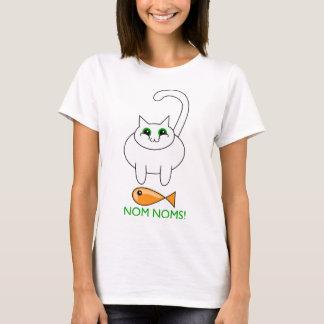 Camiseta gato gordo com peixes