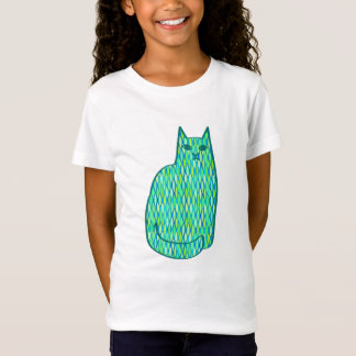 Camiseta Gato, hortelã e verde limão modernos do meio