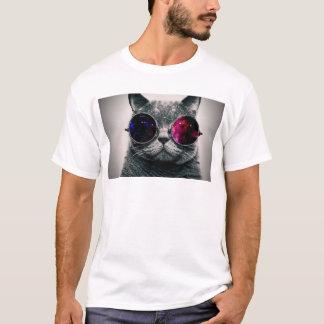 Camiseta Gato legal do espaço com Via Láctea dos vidros do