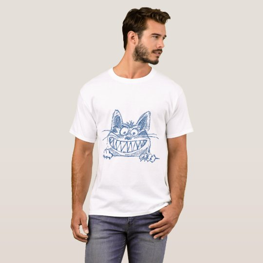Camiseta Gato legal louco no azul