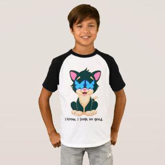 Camiseta gato no estilo com vidros para o menino