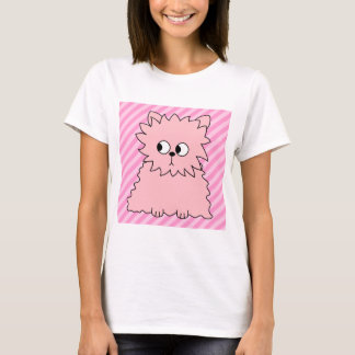Camiseta Gato persa cor-de-rosa bonito. Fundo listrado