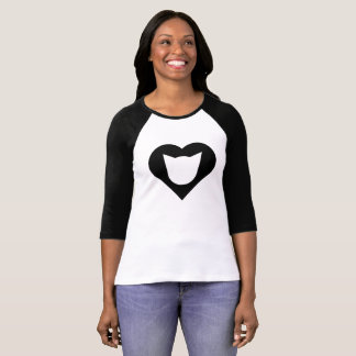 Camiseta Gato preto/camisa do Raglan senhoras do coração