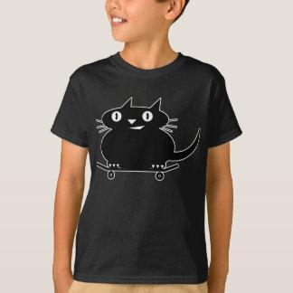 Camiseta Gato preto com linha branca t-shirt skateboarding