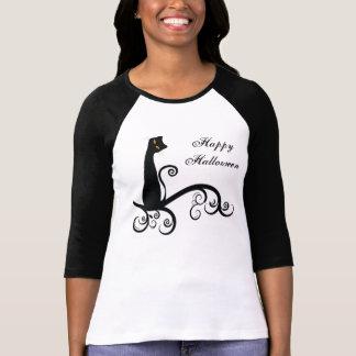 Camiseta Gato preto do Dia das Bruxas no ramo de Swirly
