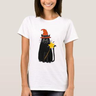 Camiseta Gato preto legal na arte do Dia das Bruxas do
