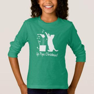 Camiseta Gato que joga com o Jack in the Box acima do Natal