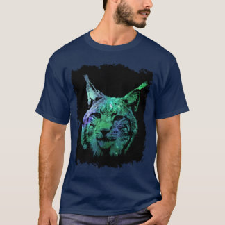 Camiseta gato selvagem da fantasia colorida mystical do