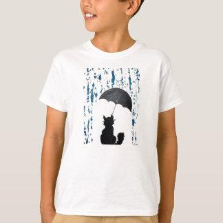 Camiseta Gato sob o guarda-chuva