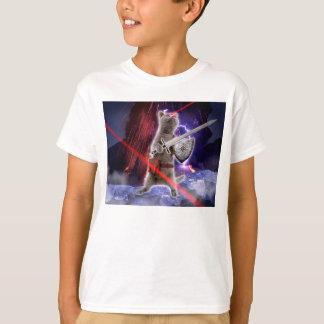 Camiseta gatos do guerreiro - gato do cavaleiro - laser do