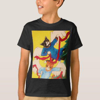 Camiseta Gatos do querubim do anjo do Natal