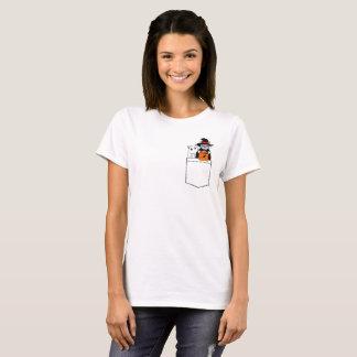 Camiseta Gatos engraçados do Dia das Bruxas no bolso
