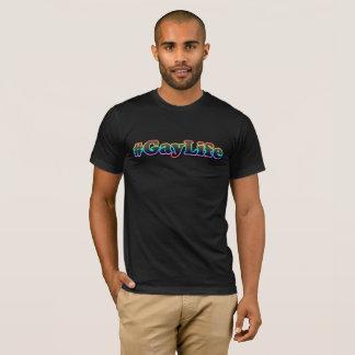Camiseta #GayLife (t-shirt do V-Pescoço dos homens escuros)