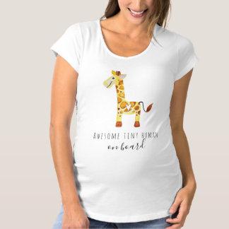 Camiseta Girafa bonito do Mama Bebê a bordo com tipografia