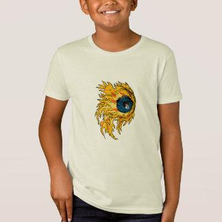 Camiseta Globo ocular flamejante no desenho do fogo