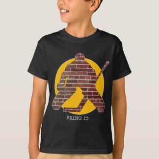 Camiseta Goalie do hóquei da parede de tijolo