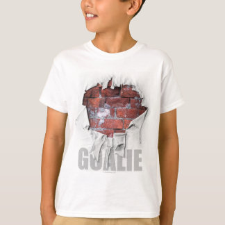 Camiseta Goalie rasgado da parede de tijolo (hóquei)