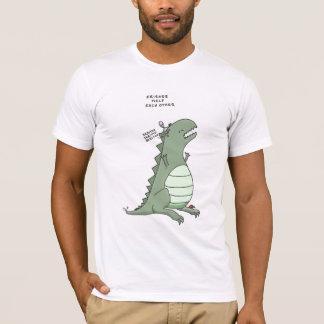 Camiseta godzilla e uma alienígena: ajuda dos amigos