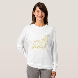 Camiseta Golden retriever longo básico do t-shirt da luva