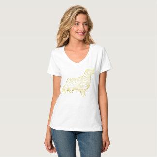 Camiseta Golden retriever Nano do t-shirt do V-Pescoço do
