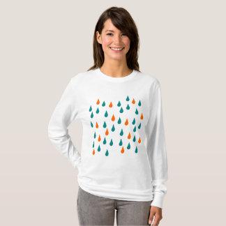 Camiseta Gotas/t-shirt longo básico luva das mulheres