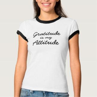 Camiseta Graditude é minha linha do preto das mulheres da