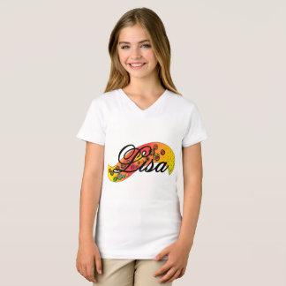 """Camiseta Gráfico de """"Lisa"""" no t-shirt branco da menina"""