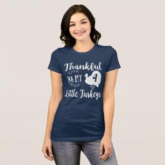Camiseta Grato para meus perus pequenos de quatro crianças