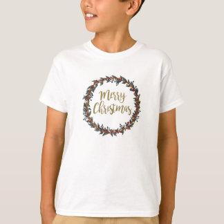 Camiseta Grinalda da aguarela - Feliz Natal - ramos